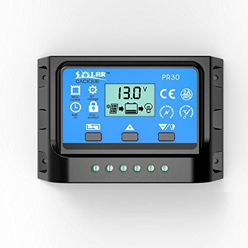 30AMP Solar Panel Charge Controller PWM Battery Smart Regulator with USB Backlight Display 12v24v 30A