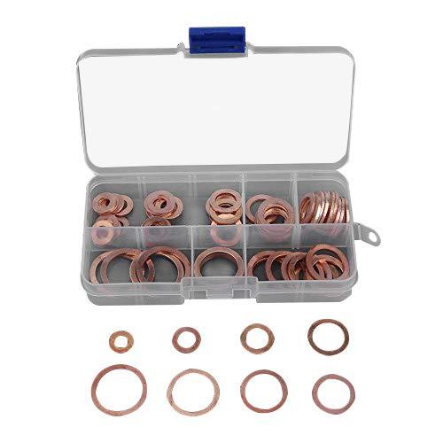 80pcs Copper Washers Assortment for Sump Plug Washers GasketsM6 M8 M10 M12 M14 M16 M18 M20