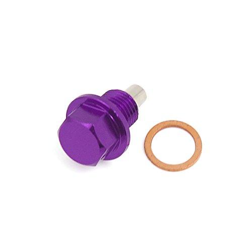 uxcell M12125 Purple Metal Magnetic Engine Oil Drain Cap Screw w Billet for Car