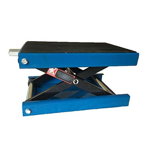 9 Wide Deck Motorcycle Center Scissor Lift Jack Hoist Stand Bikes Blue 1100LB
