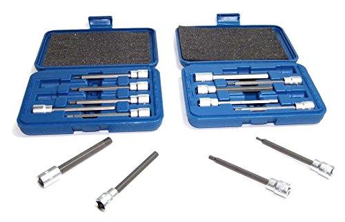 GHP 14-Piece Set 7 SAE 7 Metric Extra Long Hex Bit Socket Allen Wrench Tool Set