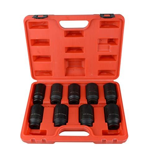 Redgiants 9pcs Deep Impact Socket Set 12 Drive Metric Standard Axle Hub Nut Socket 29-38mm Radius Corner Design With Heavy Duty Storage Case
