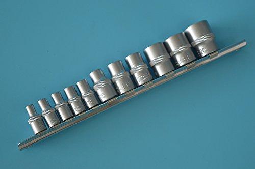 8milelake NEW 11pc Female E Torx Torque Star Socket Bit Set on Snap in Rail E4-E20
