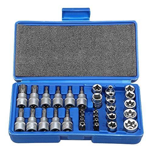 Drive Male Female Torx Star Bit Socket E-Socket Set Handheld Tool - 34 Pcs