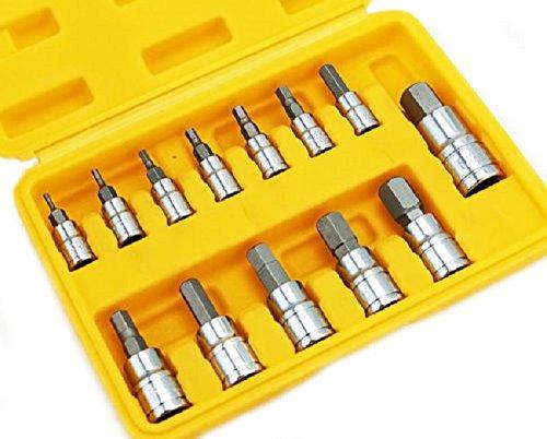 NEW 13 Pc Standard SAE Hex Allen Wrench Bit Socket Tool WCase Chrome Vanadium HD