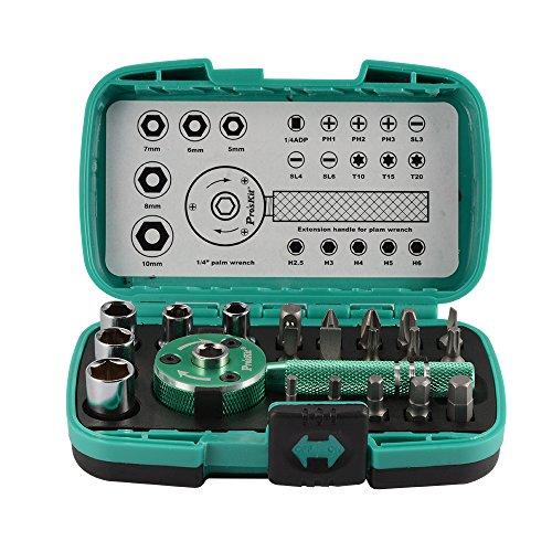XCSOURCE 22pcs Multi-functional Palm Ratchet Wrench Bit 14 Drive Socket Set Screwdriver Repair Tool Kit w Plastic Case BI780