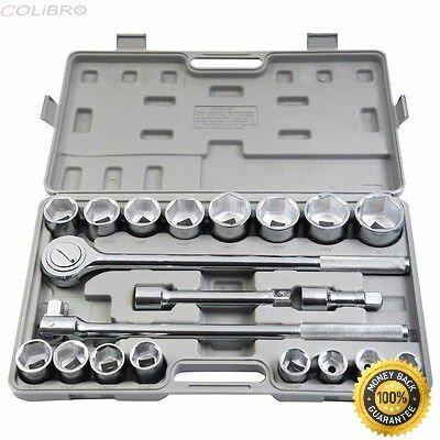COLIBROX--21pcs SAE 34 Drive Socket Set w Case Jumbo Ratchet Wrench Extension 1 PC Ratchet 20 Long 1 PC Flexible Bar18 Long 2 PCS Extension Bars 4 8