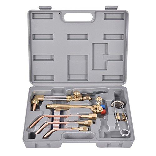 Goplus 10 PCS Oxygen Acetylene Welding Cutting Torch Kit Welder Tool Set w Case