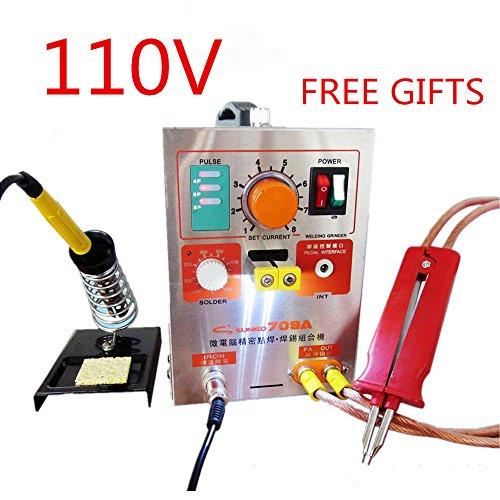 19KW 110V SUNKKO LED Pulse Battery Spot Welder 709A with Soldering Iron Station Spot Welding Machine 18650 16430 14500 battery