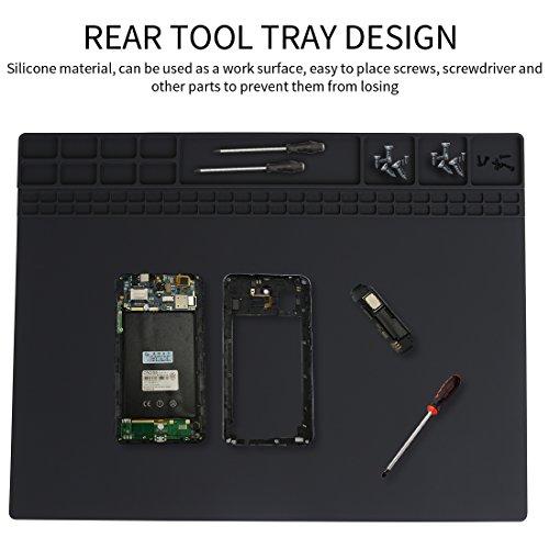 Soldering Mat Pad Heat Resistant Electronic Repairing Pad Workbench Silicon mat Maintenance Heat Mat for Heat Hun Soldering Iron BGA Soldering Station size 158x118 Black