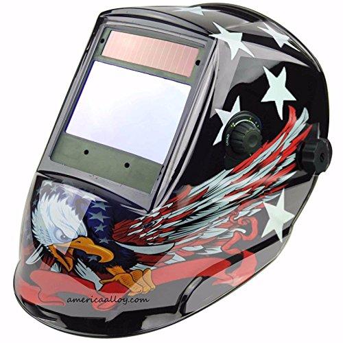 Auto Darkening Welding Helmet Biggest View Solar Power 4 Censor Hood 4X37EAGLE