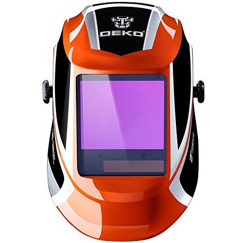 DEKOPRO Welding Helmet Auto Darkening Solar Powered wide viewing field Professional Hood with Wide Lens Adjustable Shade Range 49-13 for Mig Tig Arc Weld Grinding Welder Mask