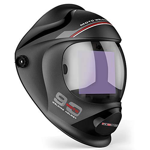 Tekware Ultra Large Viewing Screen True Color Solar Power Auto Darkening Welding Helmet Hemispherical 4C lense 4 Arc Sensor Wide Shade 4~59-913 for TIG MIG Arc Weld Grinding Welder Mask