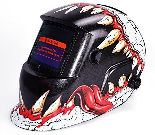 Oanon Solar Powered Auto Darkening Welding Helmet Arc Tig Mig Welding Hood with Adjustable Shade Range Dinosaur Teeth