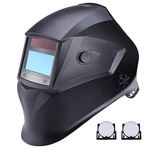 Welding Helmet Tacklife PAH01D Solar Power Auto Darkening Welding Helmet with Adjustable Shade Range DIN 9-13Grind DIN 4 and 4 Premium Sensors Highest Optical Class 1111 High Impact Polyamide