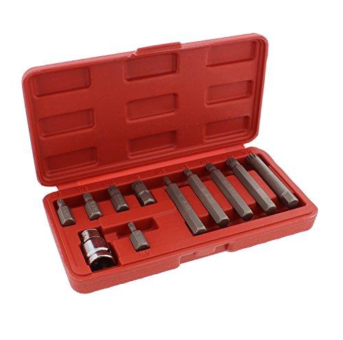 ABN XZN Triple Square Spline 11-Piece Metric Drill Bit Set – M5 – M12 Bits 10mm Hex Bit Adapter Shank CRV Steel Metal