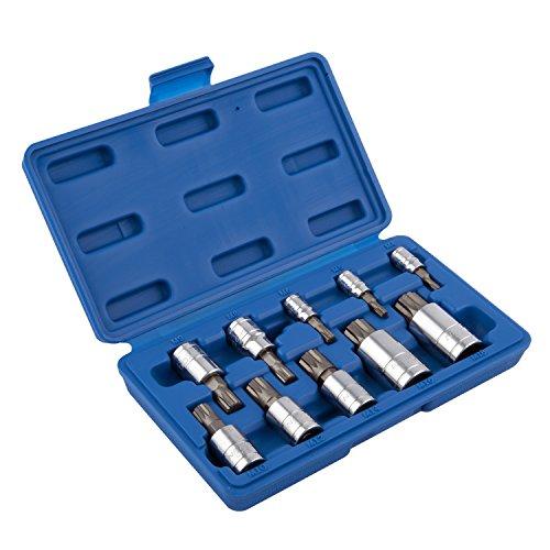 Neiko 10056A XZN Triple Square Spline Bit Socket Set S2 Steel  10-Piece Set  Metric 4mm – 18mm