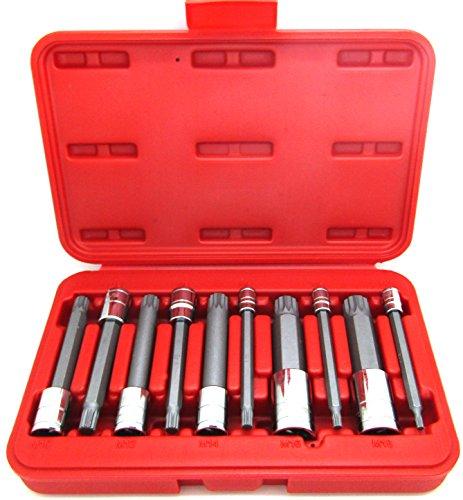 10Pcs 4 Long Spline XZN Triple Square Socket Set 14 38 12 Tamper Proof
