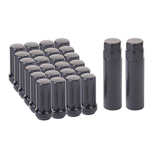 KV 251mm Tall 14mm x 15 Thread Small Diameter Acorn 7 Splines Drive Black Lug Nuts Closed End set of 24pcs with 2 sockets