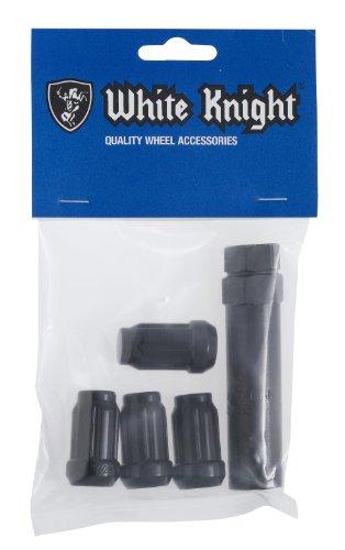 White Knight 3806BK-4 Black Chrome Finish 12mm x 125 Thread Size Spline Drive Lug Nut with Key Pack of 4