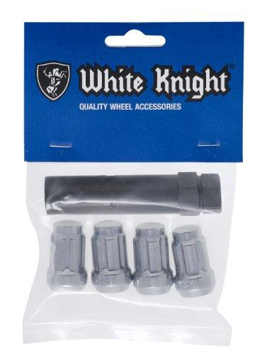 White Knight 3807-4 Chrome Finish 12mm x 150 Thread Size Spline Drive Lug Nut with Key Pack of 4