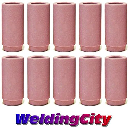 WeldingCity 10-pk Ceramic Cup 13N10 6 38 for TIG Welding Torch 9 20 and 25 Series in Lincoln Miller ESAB Weldcraft CK Everlast