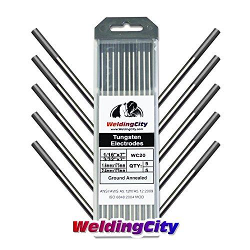 WeldingCity 10-pcs Premium TIG Welding Tungsten Electrode Rod 20 Ceriated GrayAWS EWCe20 Assorted Diameter 116 5-pcs and 332 5-pcs