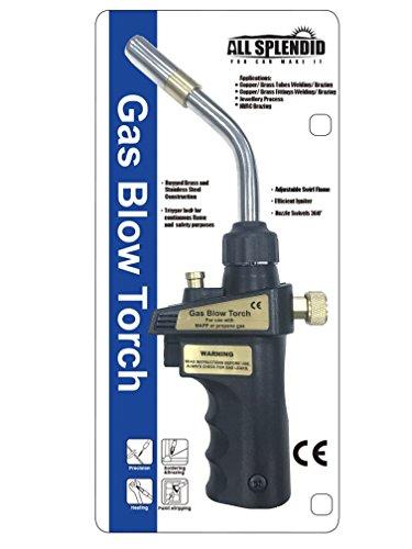 All Splendid Self-Lighting Adjustable Swirl Flame Heavy-Duty Trigger-Start MAPP Propane Blow Torch Stainless Steel Tip OD 128MM