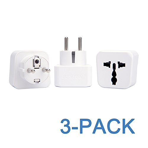 European AC Adapter Kit BESTEK Grounded Travel Power Wall Plug US to Germany France Russia Italy etc Universal US UK EU AU ASIA Converter - Type E Type F Schuko - 3 PACK