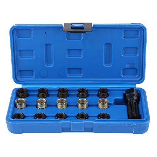 Qiilu 16 PCS Spark Plug Repair Kit 14mm x 125 M16 Screw Tap and Screw Thread Repair Tool Set for Automotive Engine Repair Craftsman Spark Plug Gap Puller Tool with Case