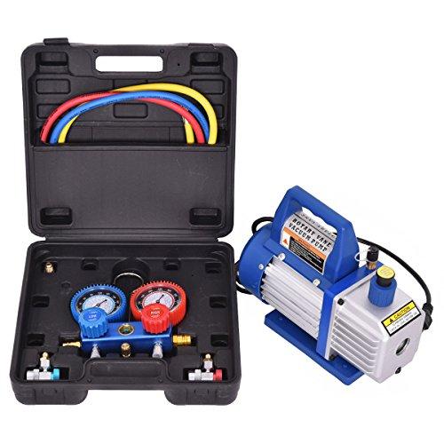 Goplus 4CFM 13HP Air Vacuum Pump HVAC Refrigeration Kit AC Manifold Gauge Set R134