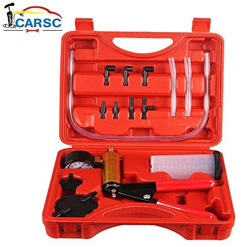 Hand Held Vacuum Pump Tester Set Vacuum Gauge and Brake Bleeder Kit for Automotive with Adapters Case