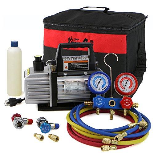 XtremepowerUS 3CFM or 4CFM Air Vacuum Pump HVAC AC Refrigeration Kit AC Manifold Gauge Set  3CFM 14HP Air Vacuum Pump