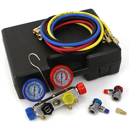 XtremepowerUS 4 Way AC Manifold Gauge Set R410A R22 R134A HVAC Diagnostic Charging Tool