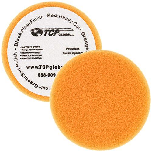 67 Orange Flat Medium Cut Grip Foam Polish Buff Pad - DA Hook Loop