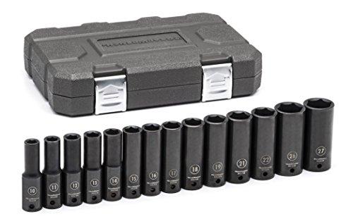 GearWrench 84955N 14 Pc 12 Drive 6 Point Deep Impact Metric Socket Set Black