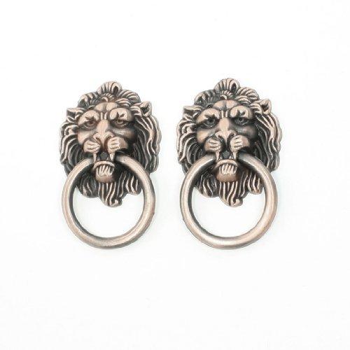 2 Pcs Retro Style Copper Tone Metal Ring Lion Head Shape Door Handle