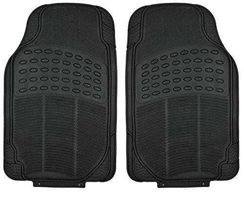 All Weather Tough Rubber Car Floor Mats - 2 Piece Front Set Black Trimmalbe Semi Custom Fit