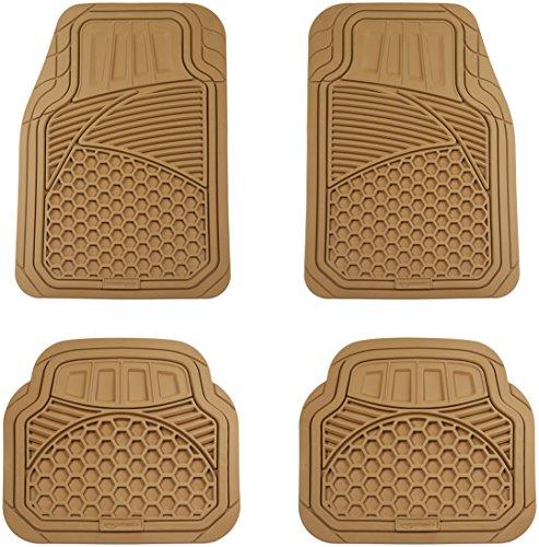 AmazonBasics 4 Piece Heavy Duty Rubber Car Floor Mat Beige