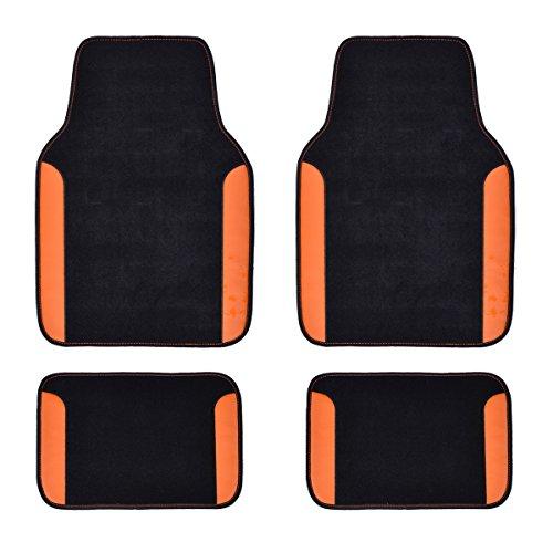 CAR PASS Rainbow Waterproof Universal Fit Car Floor Mats Fit for SuvsVansSedansCars Black with Orange