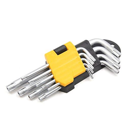 uxcell 9 in 1 T10 T15 T20 T25 T27 T30 T40 T45 T50 Torx L Shaped Hex Key Car Wrench Kit