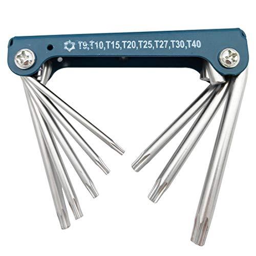 Sipery Portable Tamper Proof Star Key Set 8 in 1 Folding Security Torx Key Set T9 T10 T15 T20 T25 T27 T30 T40