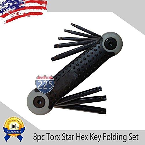 Torx Star Folding Hex 8 Keys Steel Allen Wrench T9 - T40 Set Easy Grip Hand Tool