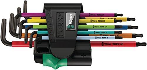 Wera 05073599001 967 Spkl9 Torx Bo Multicolor L-Key Set for Tamper-Proof Torx Screws Blacklaser 9 Pieces