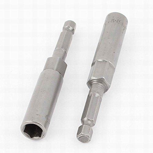 MariaP Gray 80mm x 8mm Metal Screwdriver Drill Hex Nut Driver Socket Bit 2 Piece