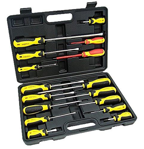 16 pc Multi Purpose Mechanics Screwdriver Set Portable Case Heavy Duty Tool Set
