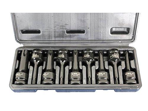 TEMO 9 pc 3 Inch 76 mm Long Tamper Proof Torx Plus IPR 5 Point Black Impact Bit Socket Set 12 Inch 127 mm Square Drive Auto Repair Tool Gc