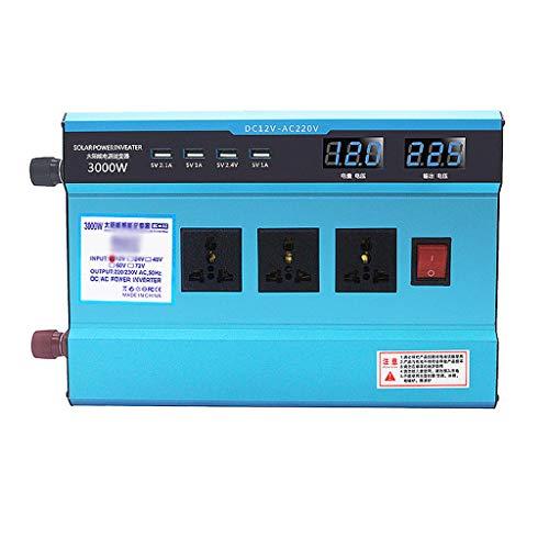 Hermsi 1500W Power Inverter DC 12V to 220V AC Car Inverter 4 USB Car Adapter and 3 Outlets LED Display Car Solar System Emergency