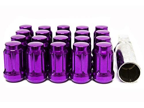 Purple Closed Ended Tuner Spline Wheel Lug Nuts 20 Pieces with Socket Key - 12x125mm