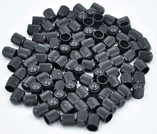 Cutequeen JIANXI-09-13-44-100 Black Tire Rim Wheel Valve Stem Caps Plastic Pack of 100